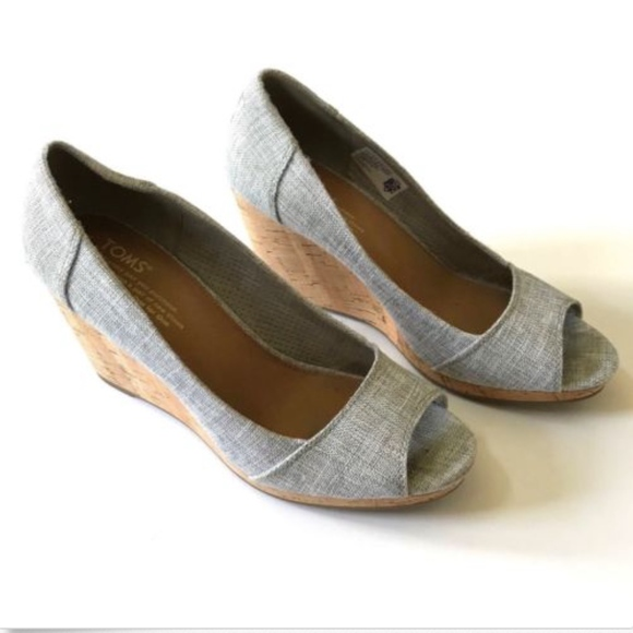 bd86f54f69f Toms Shoes - Toms Open Toe Wedge Stella Cork 8.5 Gray Canvas